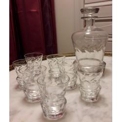 Service à liqueur en verre...