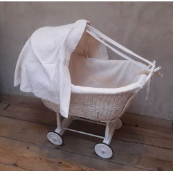 Wicker and painted wood cradle