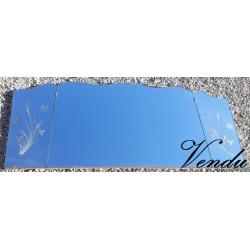 Grand miroir gravé ancien XX°